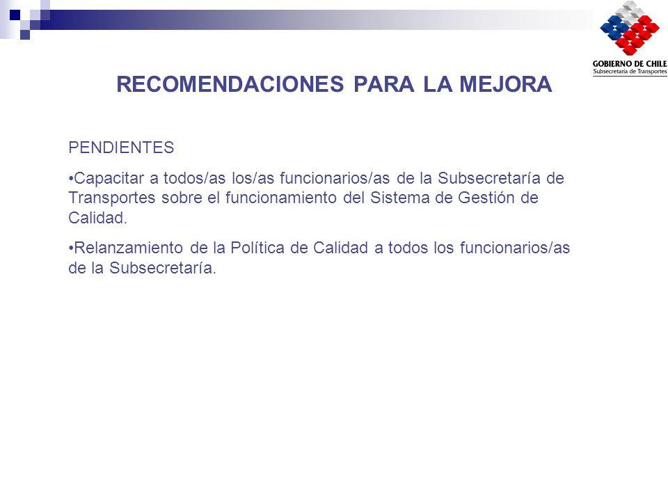 RECOMENDACIONES PARA LA MEJORA PENDIENTES Capacitar a todos/as los/as funcionarios/as de la Subsecretaría de Transportes sobre el funcionamiento del S