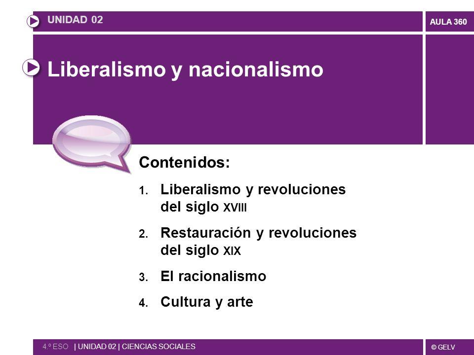 © GELV AULA 360 Liberalismo y nacionalismo Contenidos: 1. Liberalismo y revoluciones del siglo XVIII 2. Restauración y revoluciones del siglo XIX 3. E
