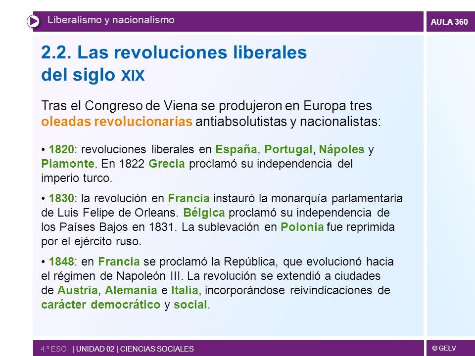 © GELV AULA 360 2.2. Las revoluciones liberales del siglo XIX Tras el Congreso de Viena se produjeron en Europa tres oleadas revolucionarias antiabsol