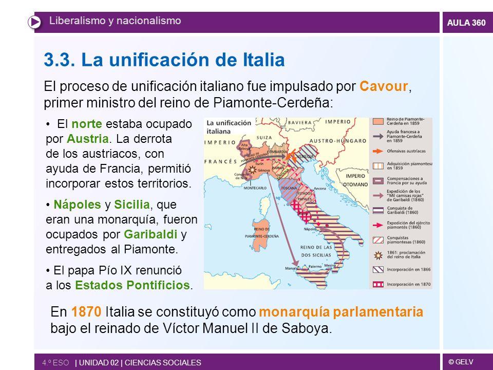 © GELV AULA 360 4.º ESO   UNIDAD 02   CIENCIAS SOCIALES Liberalismo y nacionalismo 3.3. La unificación de Italia El proceso de unificación italiano fu