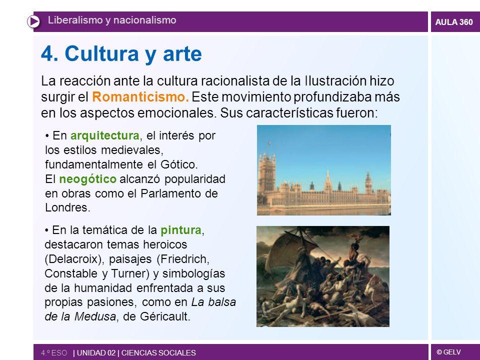 © GELV AULA 360 4. Cultura y arte La reacción ante la cultura racionalista de la Ilustración hizo surgir el Romanticismo. Este movimiento profundizaba