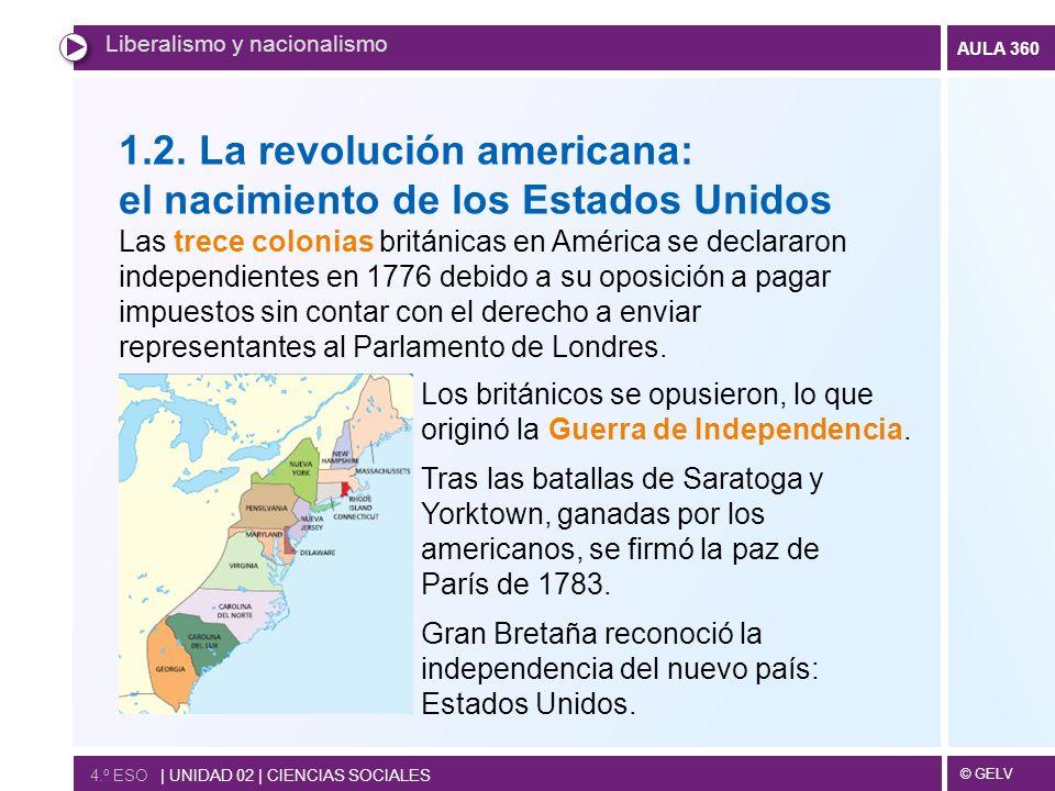 © GELV AULA 360 4.º ESO   UNIDAD 02   CIENCIAS SOCIALES Liberalismo y nacionalismo 1.2. La revolución americana: el nacimiento de los Estados Unidos L