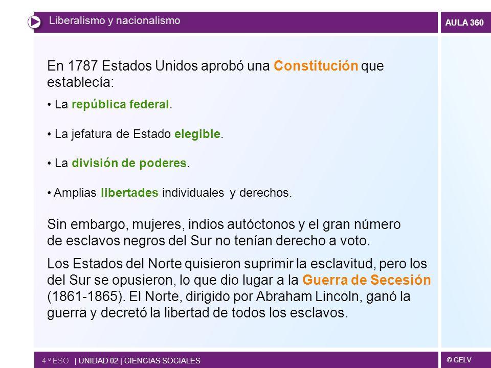 © GELV AULA 360 En 1787 Estados Unidos aprobó una Constitución que establecía: La república federal. La jefatura de Estado elegible. La división de po