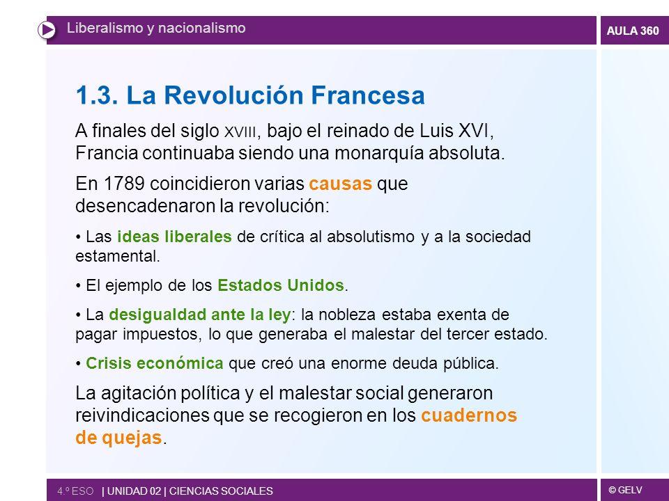 © GELV AULA 360 4.º ESO   UNIDAD 02   CIENCIAS SOCIALES Liberalismo y nacionalismo 1.3. La Revolución Francesa A finales del siglo XVIII, bajo el rein