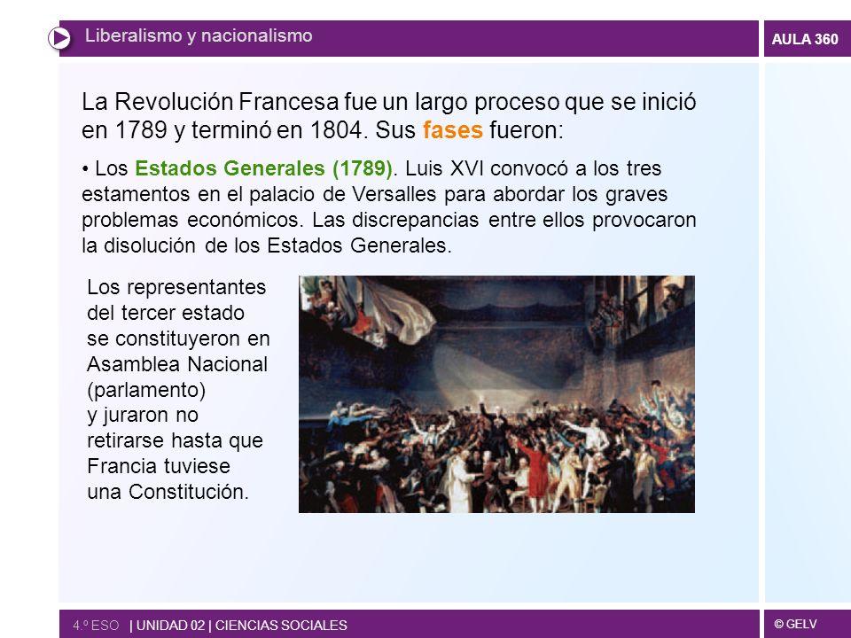 © GELV AULA 360 Liberalismo y nacionalismo 4.º ESO   UNIDAD 02   CIENCIAS SOCIALES La Revolución Francesa fue un largo proceso que se inició en 1789 y