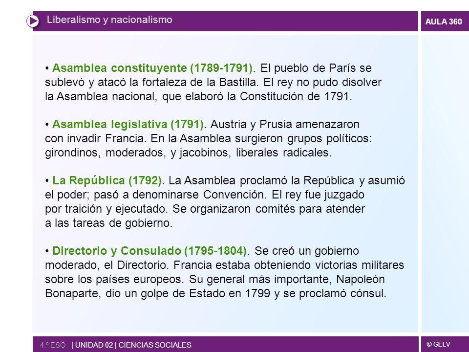 © GELV AULA 360 Liberalismo y nacionalismo 4.º ESO   UNIDAD 02   CIENCIAS SOCIALES Asamblea constituyente (1789-1791). El pueblo de París se sublevó y