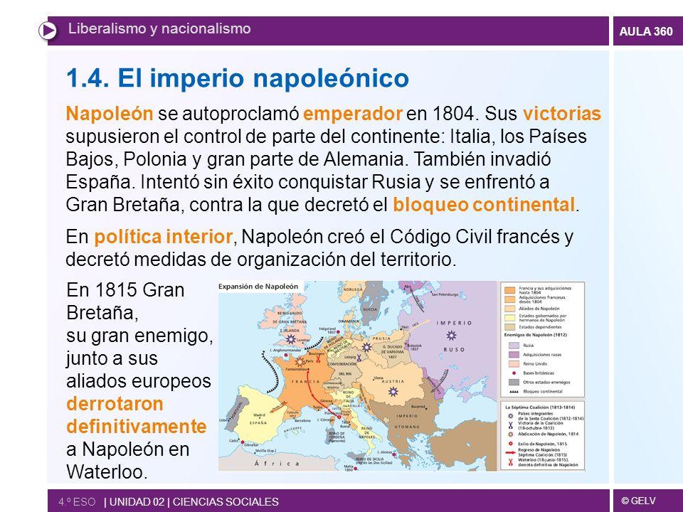 © GELV AULA 360 4.º ESO | UNIDAD 02 | CIENCIAS SOCIALES Liberalismo y nacionalismo 1.4. El imperio napoleónico Napoleón se autoproclamó emperador en 1