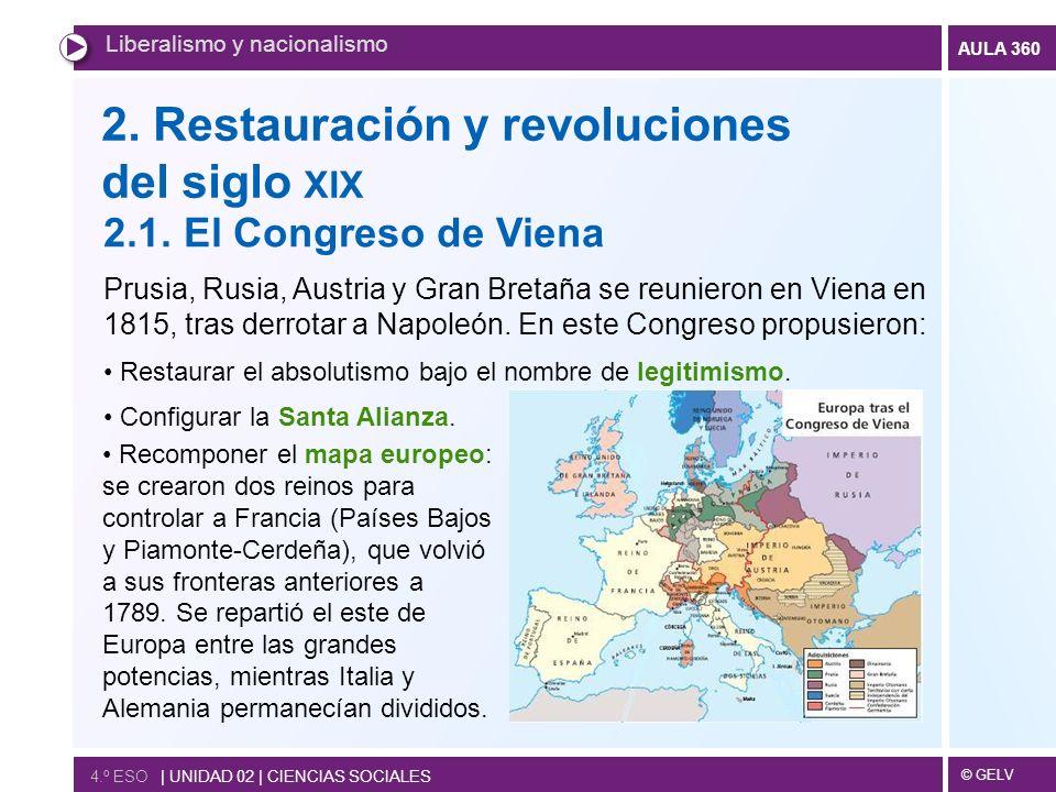 © GELV AULA 360 2. Restauración y revoluciones del siglo XIX Liberalismo y nacionalismo 4.º ESO | UNIDAD 02 | CIENCIAS SOCIALES 2.1. El Congreso de Vi