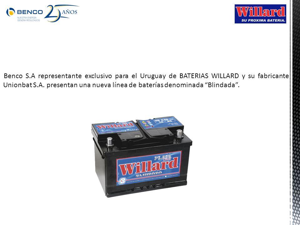 Benco S.A representante exclusivo para el Uruguay de BATERIAS WILLARD y su fabricante Unionbat S.A.