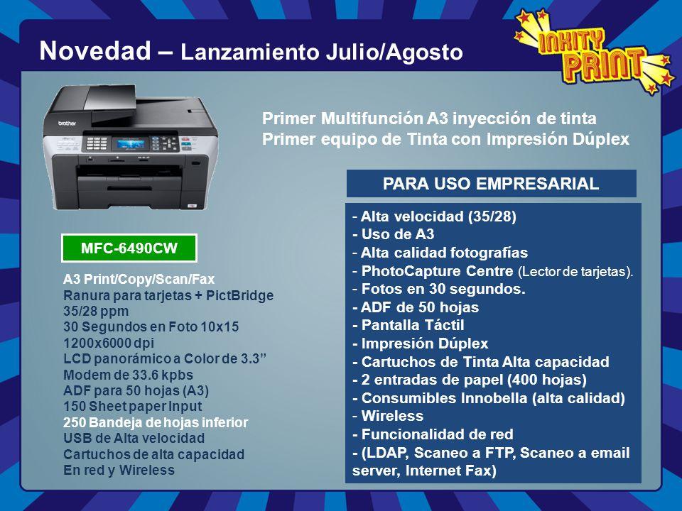 Novedad – Lanzamiento Julio/Agosto PARA USO EMPRESARIAL - - Alta velocidad (35/28) - Uso de A3 - - Alta calidad fotografías - - PhotoCapture Centre (Lector de tarjetas).