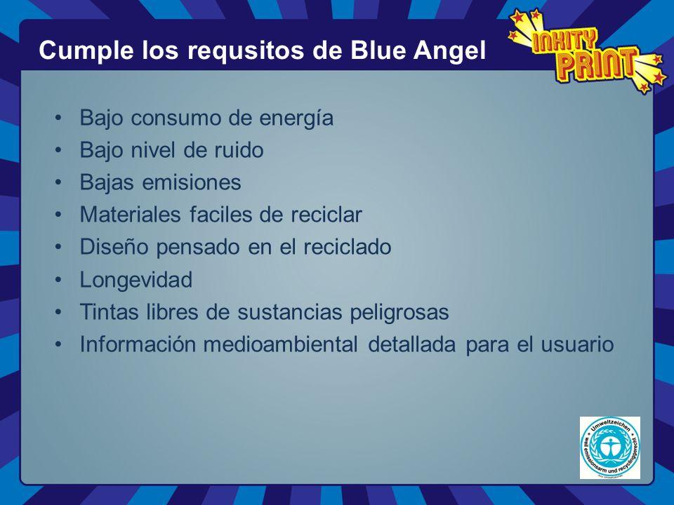 Bajo consumo de energía Bajo nivel de ruido Bajas emisiones Materiales faciles de reciclar Diseño pensado en el reciclado Longevidad Tintas libres de sustancias peligrosas Información medioambiental detallada para el usuario Cumple los requsitos de Blue Angel