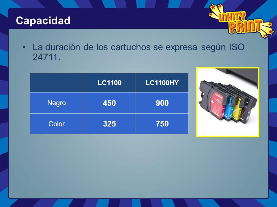 La duración de los cartuchos se expresa según ISO 24711.