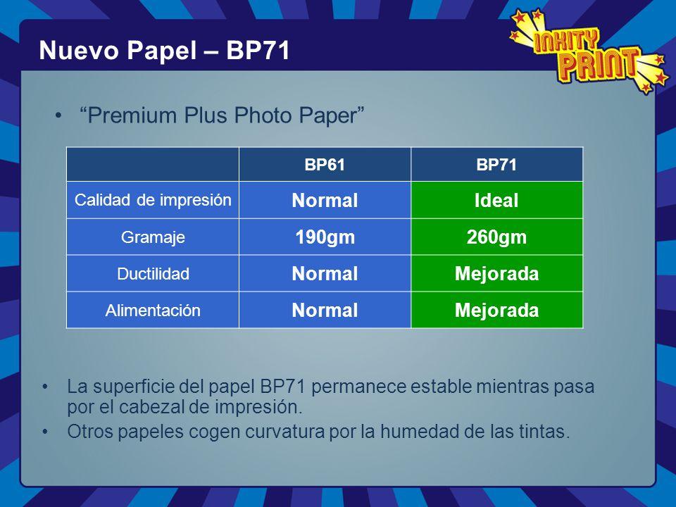 Premium Plus Photo Paper Nuevo Papel – BP71 BP61BP71 Calidad de impresión NormalIdeal Gramaje 190gm260gm Ductilidad NormalMejorada Alimentación NormalMejorada La superficie del papel BP71 permanece estable mientras pasa por el cabezal de impresión.