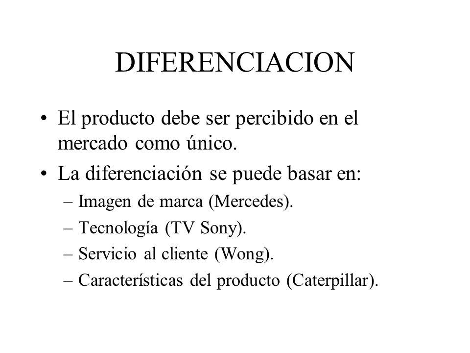 DIFERENCIACION Permite obtener rendimientos mayores al promedio.