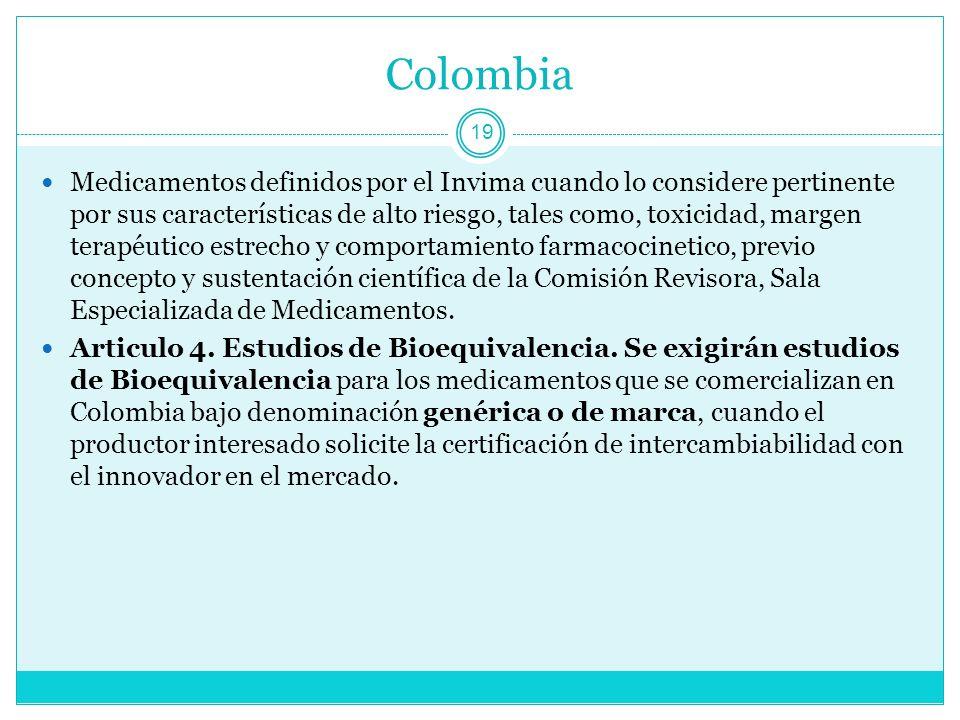 Colombia 19 Medicamentos definidos por el Invima cuando lo considere pertinente por sus características de alto riesgo, tales como, toxicidad, margen terapéutico estrecho y comportamiento farmacocinetico, previo concepto y sustentación científica de la Comisión Revisora, Sala Especializada de Medicamentos.