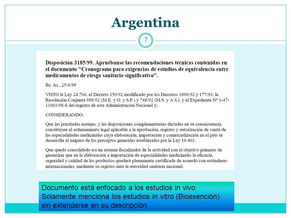 Argentina 7 Documento está enfocado a los estudios in vivo.