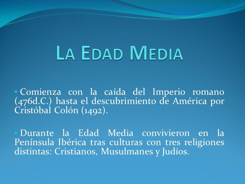 Comienza con la caída del Imperio romano (476d.C.) hasta el descubrimiento de América por Cristóbal Colón (1492).