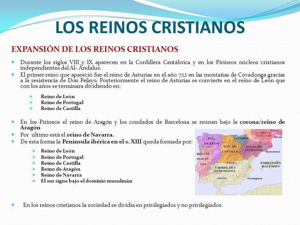 LOS REINOS CRISTIANOS EXPANSIÓN DE LOS REINOS CRISTIANOS Durante los siglos VIII y IX aparecen en la Cordillera Cantábrica y en los Pirineos núcleos cristianos independientes del Al- Ándalus.