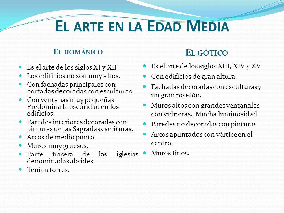 E L ARTE EN LA E DAD M EDIA E L ROMÁNICO E L GÓTICO Es el arte de los siglos XI y XII Los edificios no son muy altos.