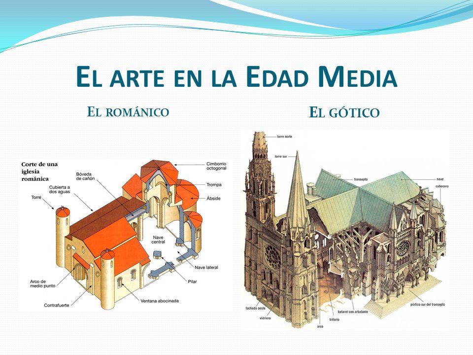 E L ARTE EN LA E DAD M EDIA E L ROMÁNICO E L GÓTICO Es el arte de los siglos XI y XII Los edificios no son muy altos. Con fachadas principales con por