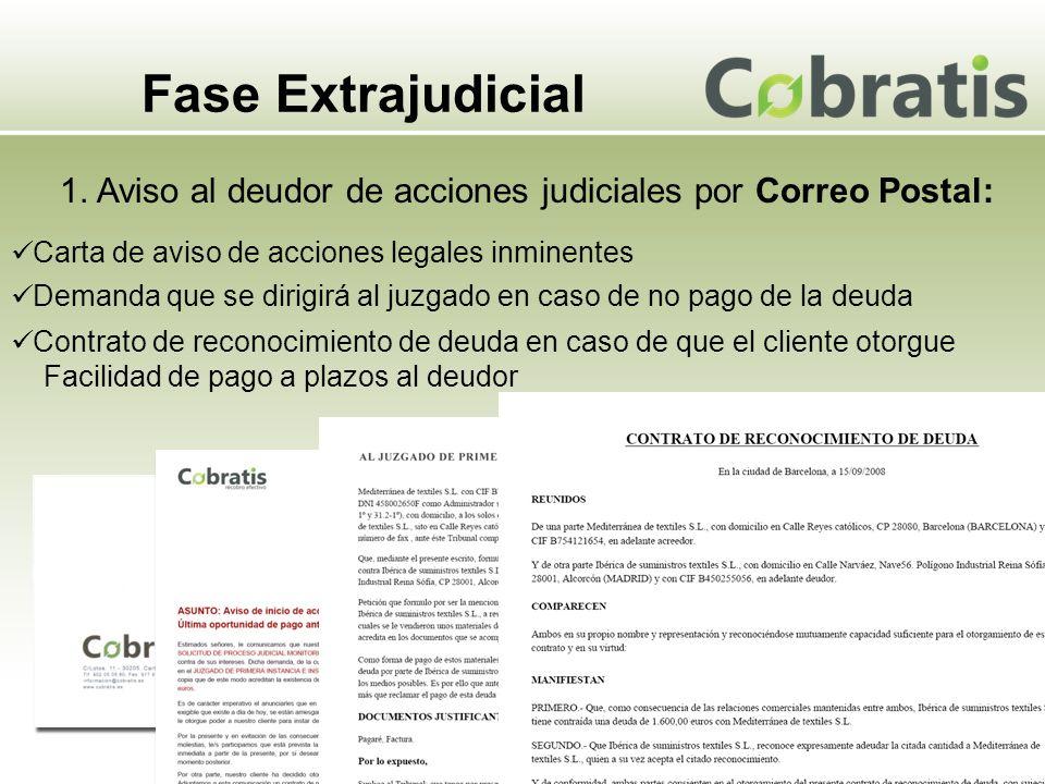 Fase Extrajudicial 1. Aviso al deudor de acciones judiciales por Correo Postal: Carta de aviso de acciones legales inminentes Demanda que se dirigirá