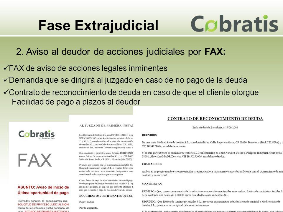 Fase Extrajudicial 2. Aviso al deudor de acciones judiciales por FAX: FAX de aviso de acciones legales inminentes Demanda que se dirigirá al juzgado e