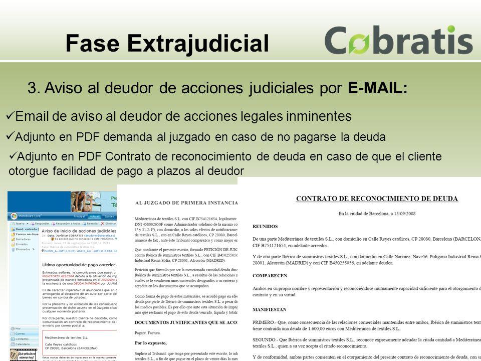 Fase Extrajudicial 3. Aviso al deudor de acciones judiciales por E-MAIL: Email de aviso al deudor de acciones legales inminentes Adjunto en PDF demand
