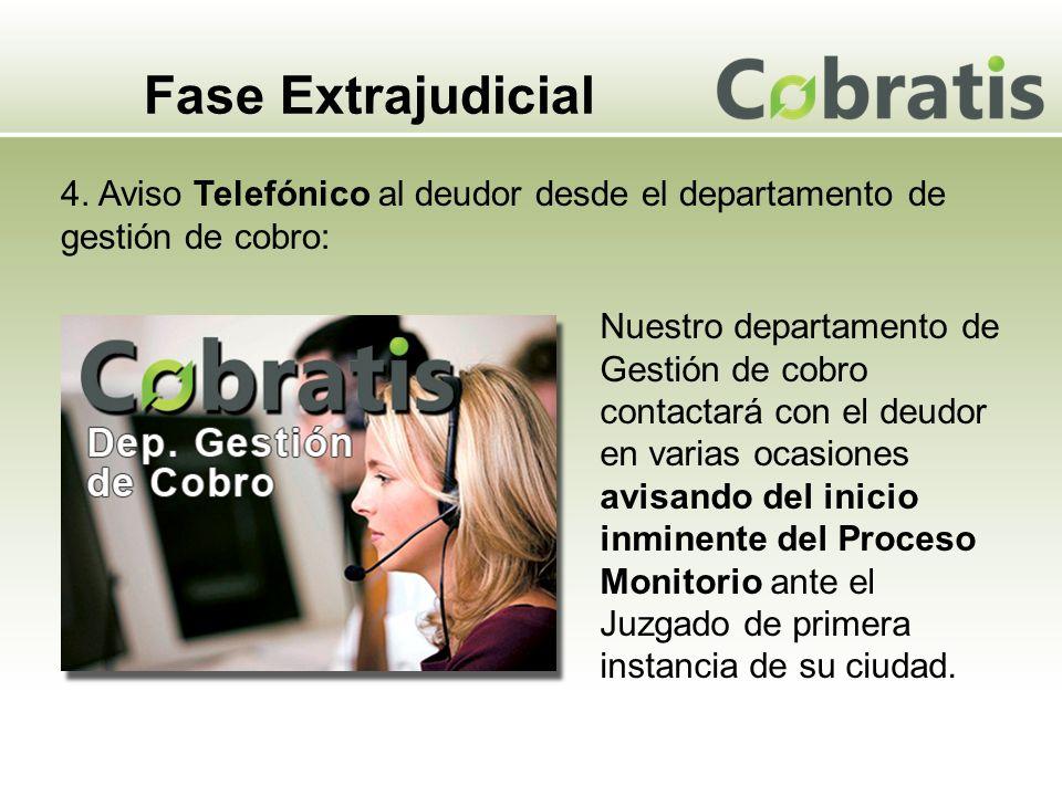 Fase Extrajudicial 4. Aviso Telefónico al deudor desde el departamento de gestión de cobro: Nuestro departamento de Gestión de cobro contactará con el