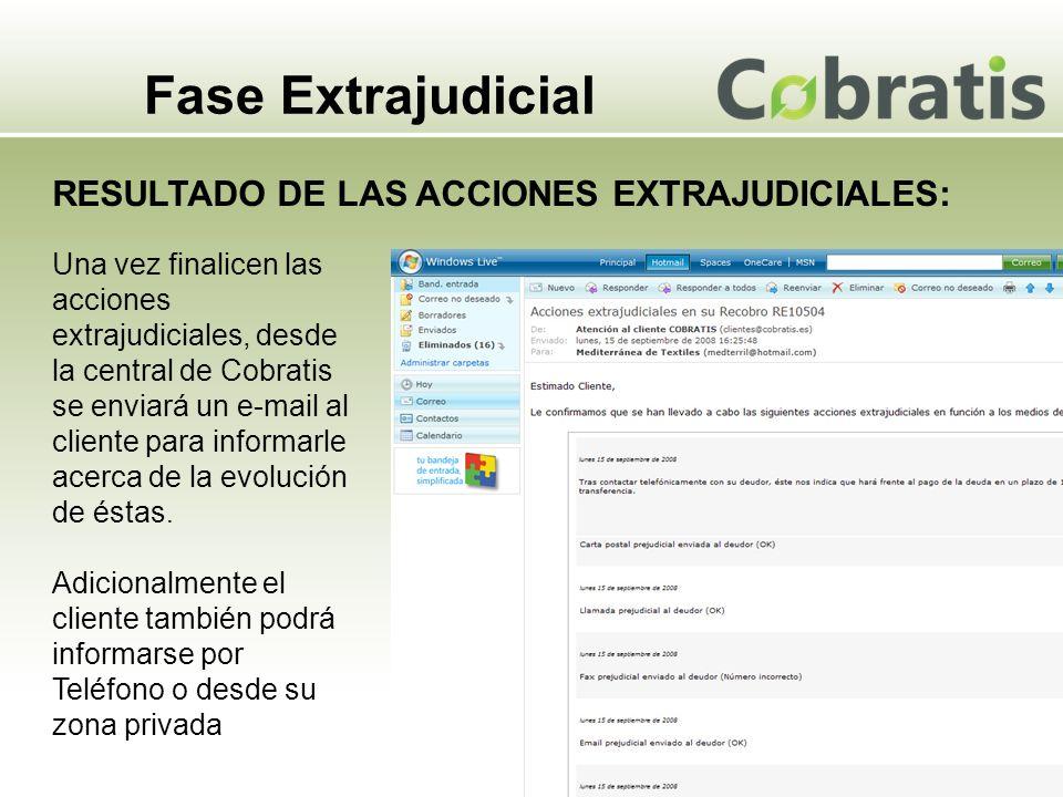 Fase Extrajudicial RESULTADO DE LAS ACCIONES EXTRAJUDICIALES: Una vez finalicen las acciones extrajudiciales, desde la central de Cobratis se enviará