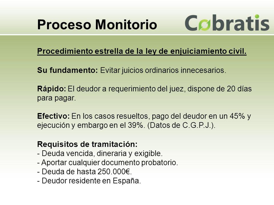 Proceso Monitorio Procedimiento estrella de la ley de enjuiciamiento civil. Su fundamento: Evitar juicios ordinarios innecesarios. Rápido: El deudor a