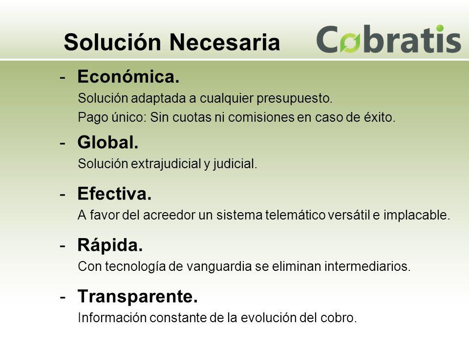 Solución Necesaria -Económica. Solución adaptada a cualquier presupuesto. Pago único: Sin cuotas ni comisiones en caso de éxito. -Global. Solución ext