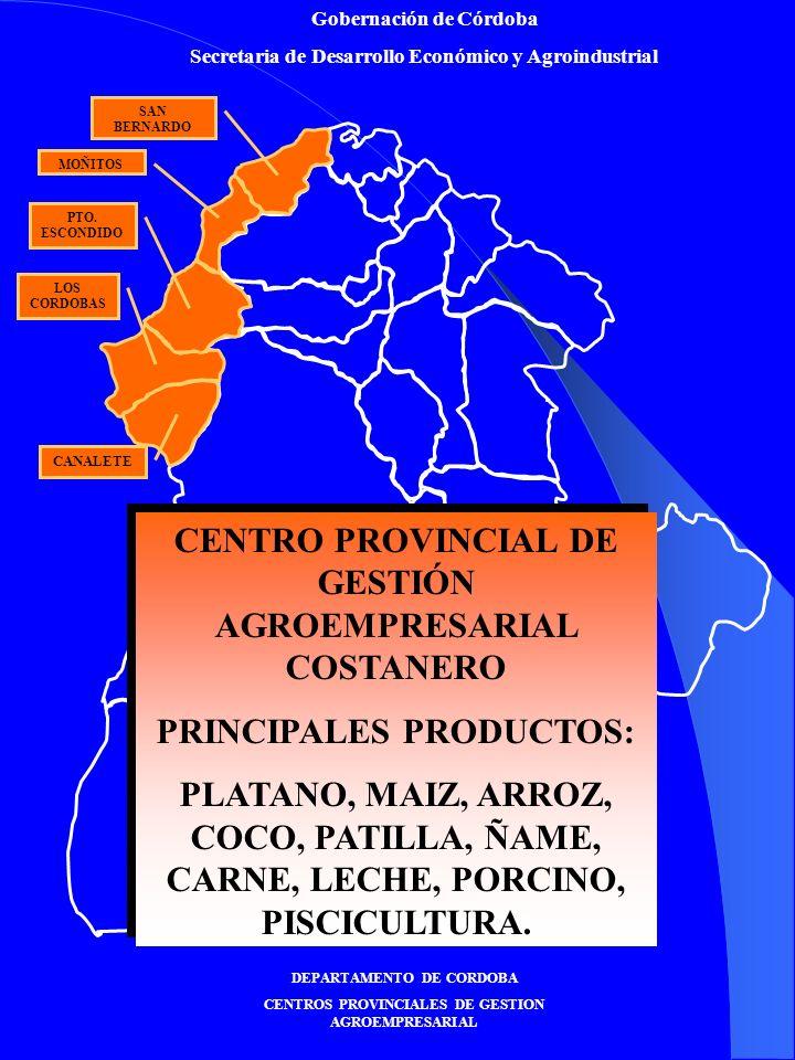 Gobernación de Córdoba Secretaria de Desarrollo Económico y Agroindustrial DEPARTAMENTO DE CORDOBA CENTROS PROVINCIALES DE GESTION AGROEMPRESARIAL CANALETE LOS CORDOBAS PTO.