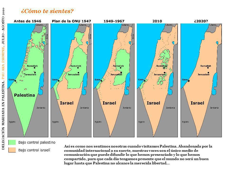 ¿Cómo te sientes? DELEGACIÓN MARHABA EN PALESTINA. PAU ARA I SEMPRE. JULIO - AGOSTO 2010 Así es como nos sentimos nosotras cuando visitamos Palestina.