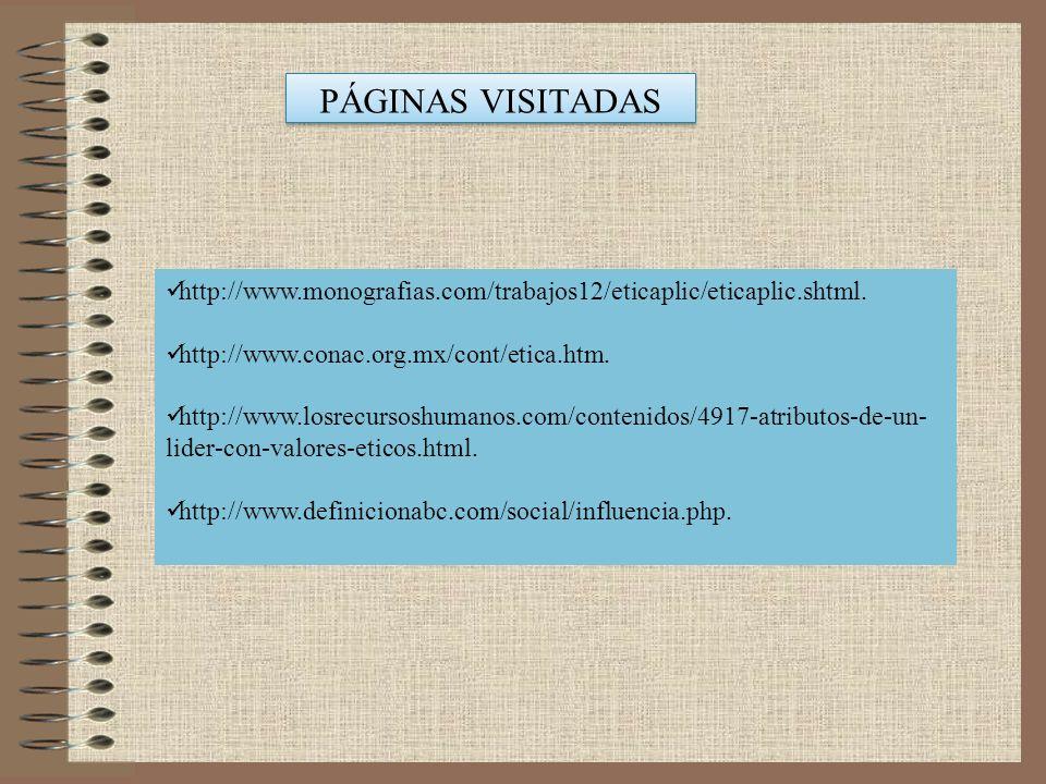 PÁGINAS VISITADAS PÁGINAS VISITADAS http://www.monografias.com/trabajos12/eticaplic/eticaplic.shtml. http://www.conac.org.mx/cont/etica.htm. http://ww