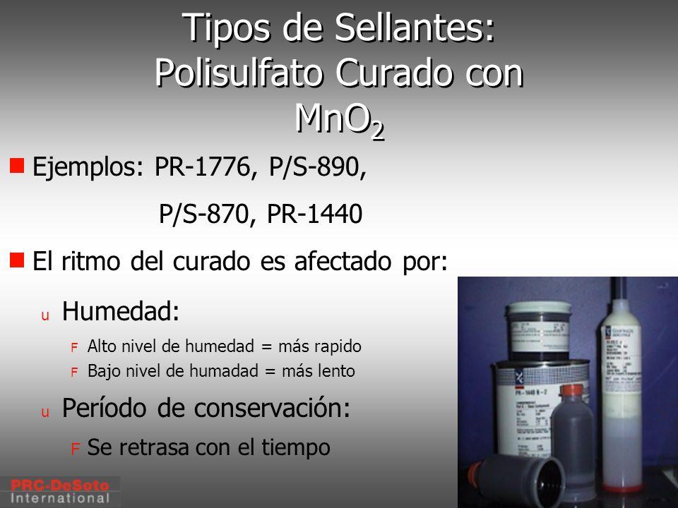 C. W. Keller1/2000 Tipos de Sellantes: Polisulfato Curado con MnO 2 Ejemplos: PR-1776, P/S-890, P/S-870, PR-1440 El ritmo del curado es afectado por: