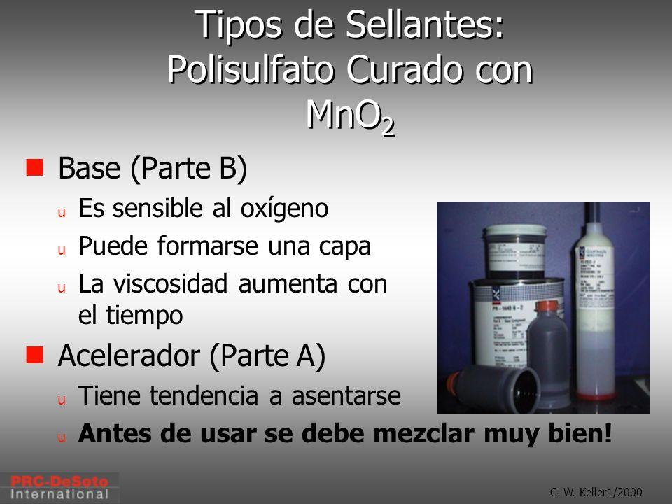C. W. Keller1/2000 Tipos de Sellantes: Polisulfato Curado con MnO 2 Base (Parte B) u Es sensible al oxígeno u Puede formarse una capa u La viscosidad