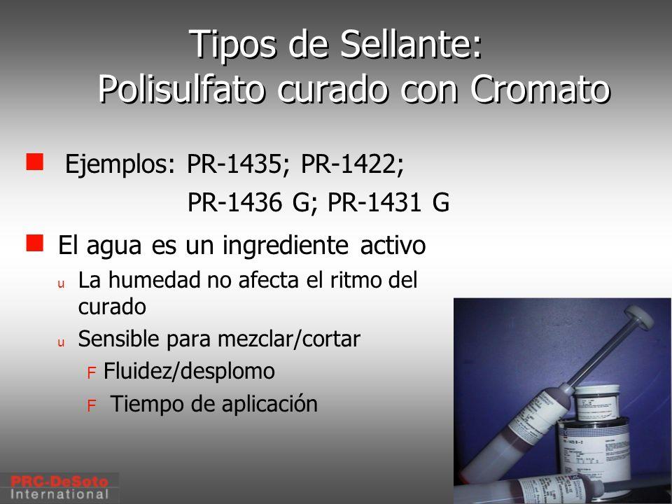 C. W. Keller1/2000 Tipos de Sellante: Polisulfato curado con Cromato Ejemplos: PR-1435; PR-1422; PR-1436 G; PR-1431 G El agua es un ingrediente activo