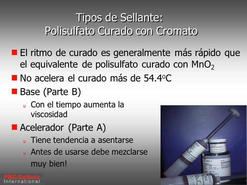 C. W. Keller1/2000 Tipos de Sellante: Polisulfato Curado con Cromato El ritmo de curado es generalmente más rápido que el equivalente de polisulfato c