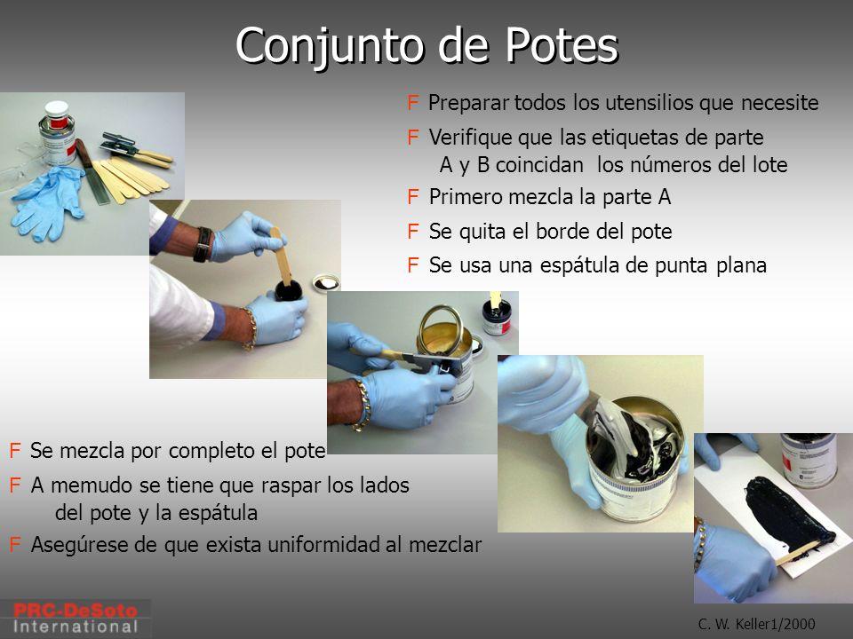 C. W. Keller1/2000 Conjunto de Potes Preparar todos los utensilios que necesite F Verifique que las etiquetas de parte A y B coincidan los números del