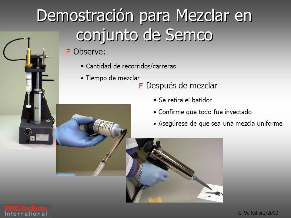 C. W. Keller1/2000 Demostración para Mezclar en conjunto de Semco Observe: Cantidad de recorridos/carreras Tiempo de mezclar Después de mezclar Se ret