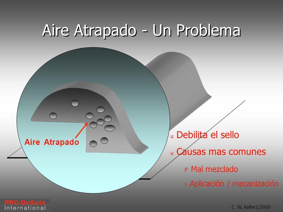 C. W. Keller1/2000 Aire Atrapado - Un Problema u Debilita el sello u Causas mas comunes F Mal mezclado F Aplicación / mecanización Trapped Air Aire At