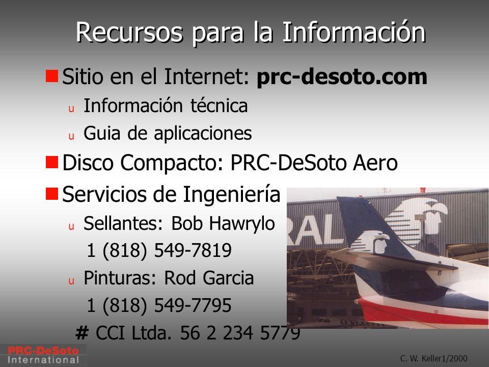 C. W. Keller1/2000 Recursos para la Información Sitio en el Internet: prc-desoto.com u Información técnica u Guia de aplicaciones Disco Compacto: PRC-