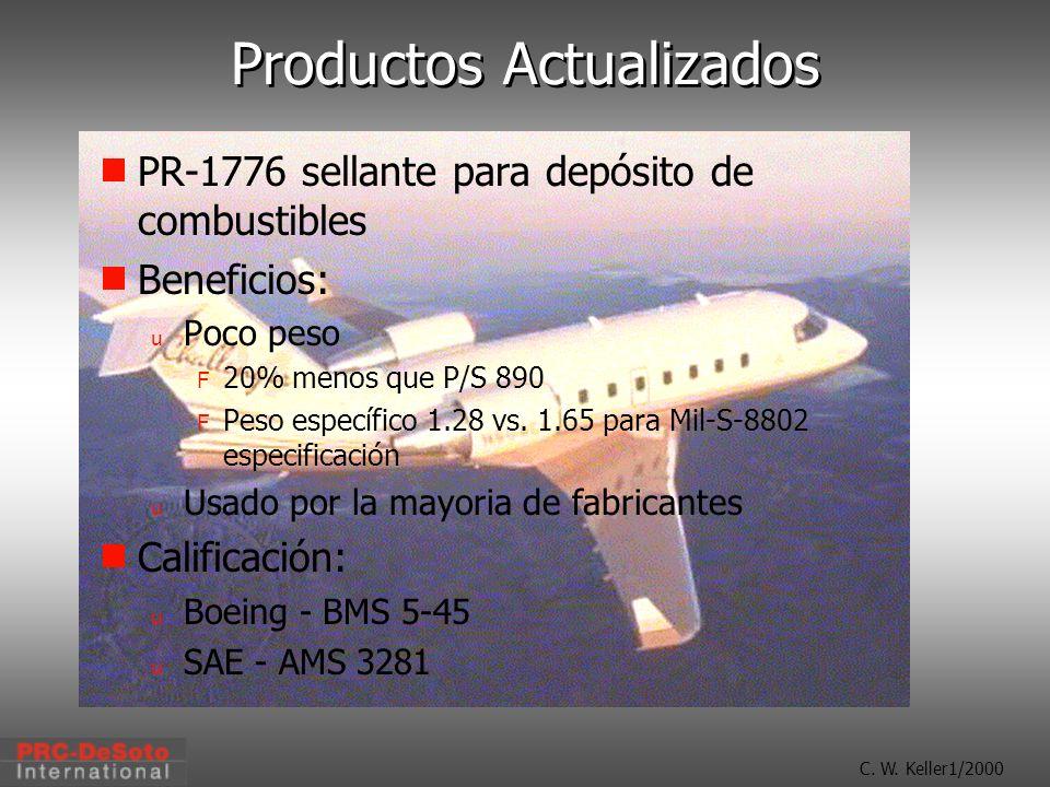 C. W. Keller1/2000 Productos Actualizados PR-1776 sellante para depósito de combustibles Beneficios: u Poco peso F 20% menos que P/S 890 F Peso especí