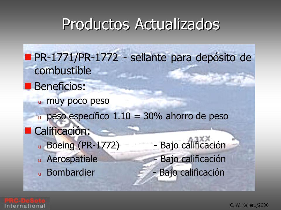 C. W. Keller1/2000 Productos Actualizados PR-1771/PR-1772 - sellante para depósito de combustible Beneficios: u muy poco peso u peso específico 1.10 =