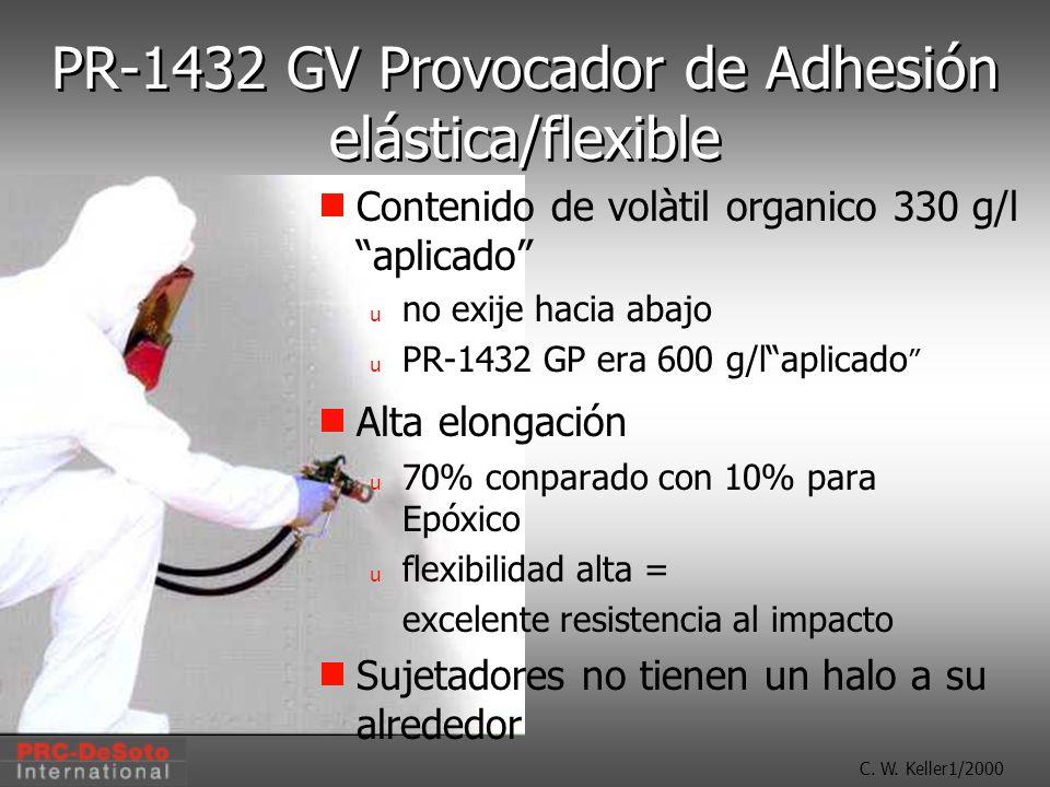 C. W. Keller1/2000 PR-1432 GV Provocador de Adhesión elástica/flexible Contenido de volàtil organico 330 g/l aplicado u no exije hacia abajo u PR-1432