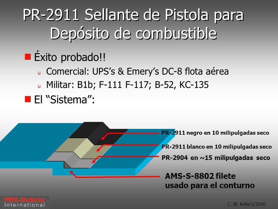 C. W. Keller1/2000 PR-2911 Sellante de Pistola para Depósito de combustible PR-2904 en ~15 milipulgadas seco PR-2911 blanco en 10 milipulgadas seco PR