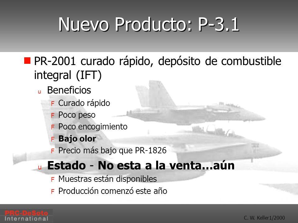 C. W. Keller1/2000 Nuevo Producto: P-3.1 PR-2001 curado rápido, depósito de combustible integral (IFT) u Beneficios F Curado rápido F Poco peso F Poco