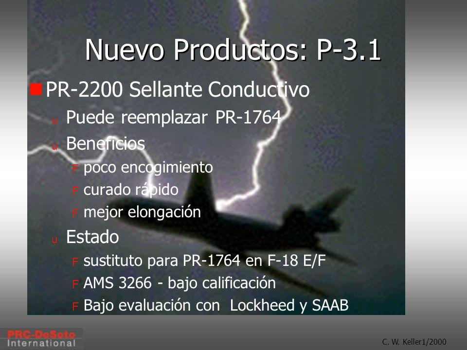 C. W. Keller1/2000 Nuevo Productos: P-3.1 PR-2200 Sellante Conductivo u Puede reemplazar PR-1764 u Beneficios F poco encogimiento F curado rápido F me