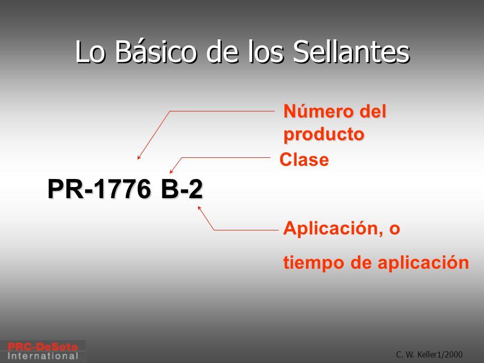 C. W. Keller1/2000 Lo Básico de los Sellantes PR-1776 B-2 Número del producto Clase Aplicación, o tiempo de aplicación