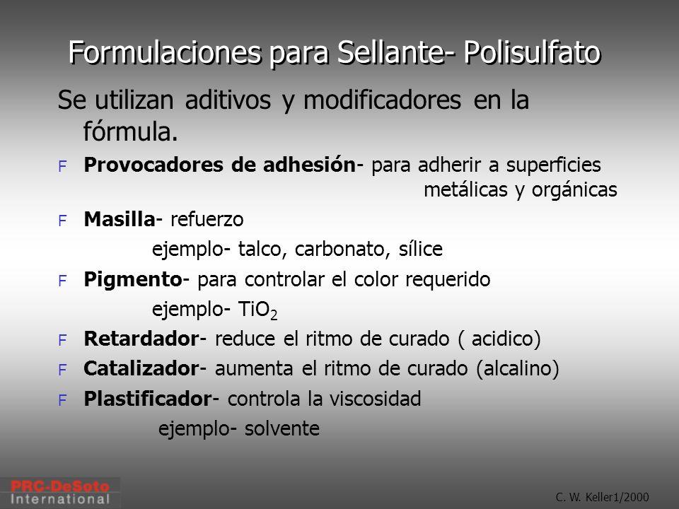 C. W. Keller1/2000 Formulaciones para Sellante- Polisulfato Se utilizan aditivos y modificadores en la fórmula. F Provocadores de adhesión- para adher